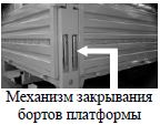 Механизм закрывания бортов платформы на автомобиле Камаз