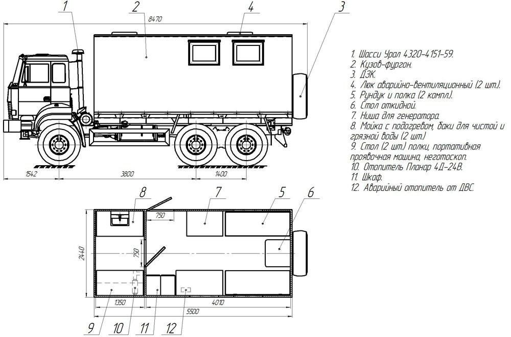 Планировка передвижной исследовательской лаборатории Урал 4320-4151-81Е5