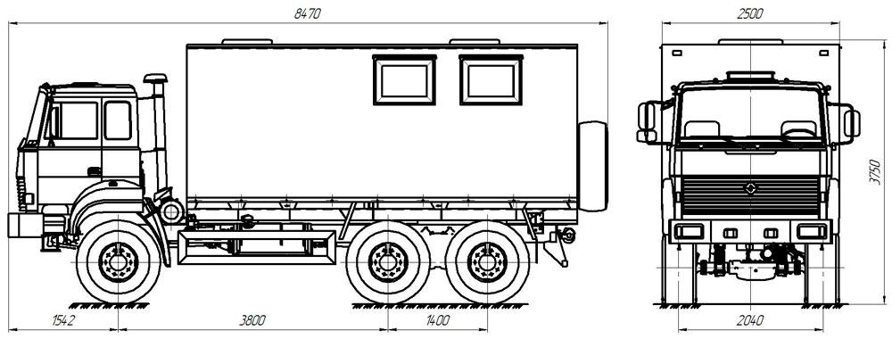 Габаритный чертеж передвижной исследовательской лаборатории Урал 4320-4151-81Е5