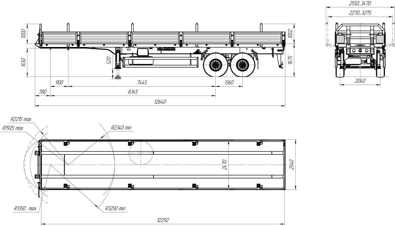 Габаритный чертеж полуприцепа бортового УЗСТ 9175-001Б2