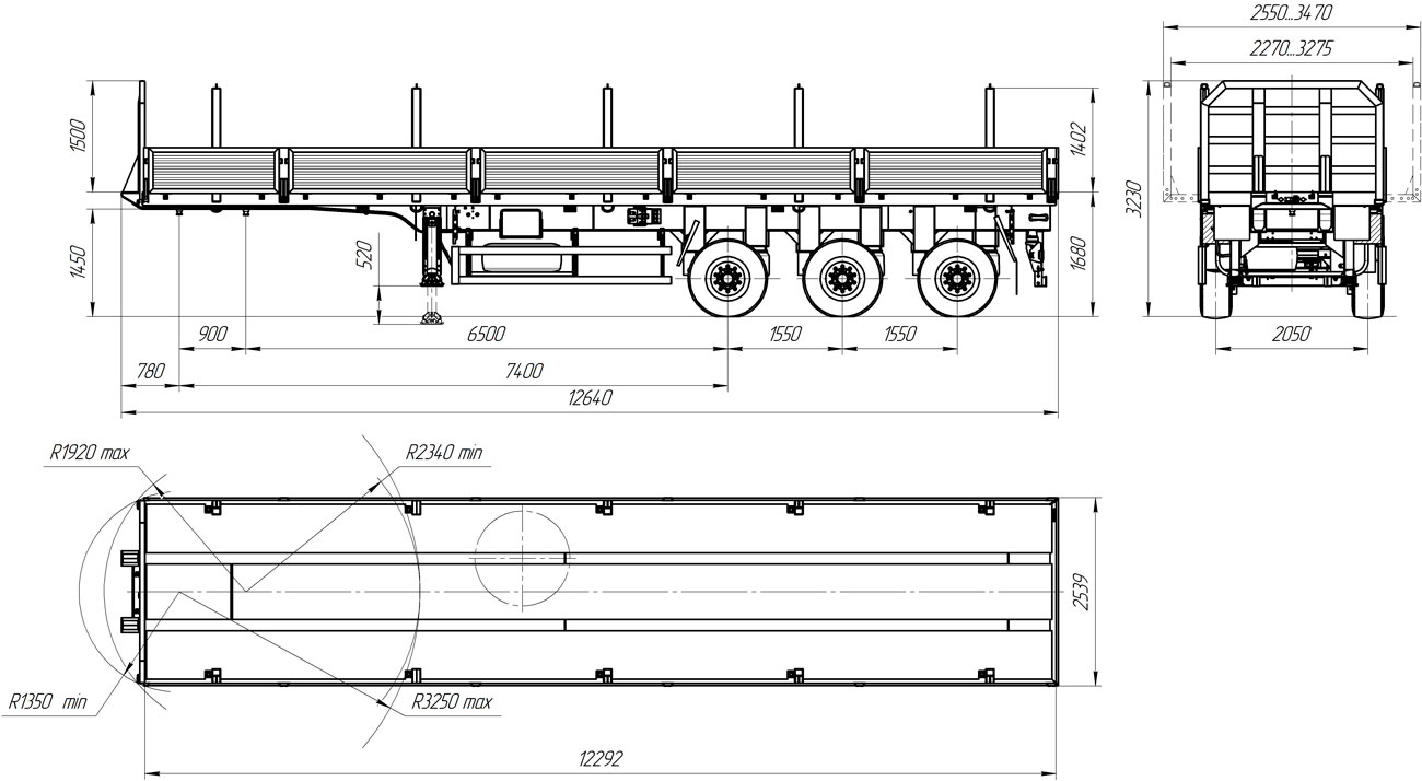 Габаритный чертеж бортового полуприцепа УЗСТ 9174-001Б3