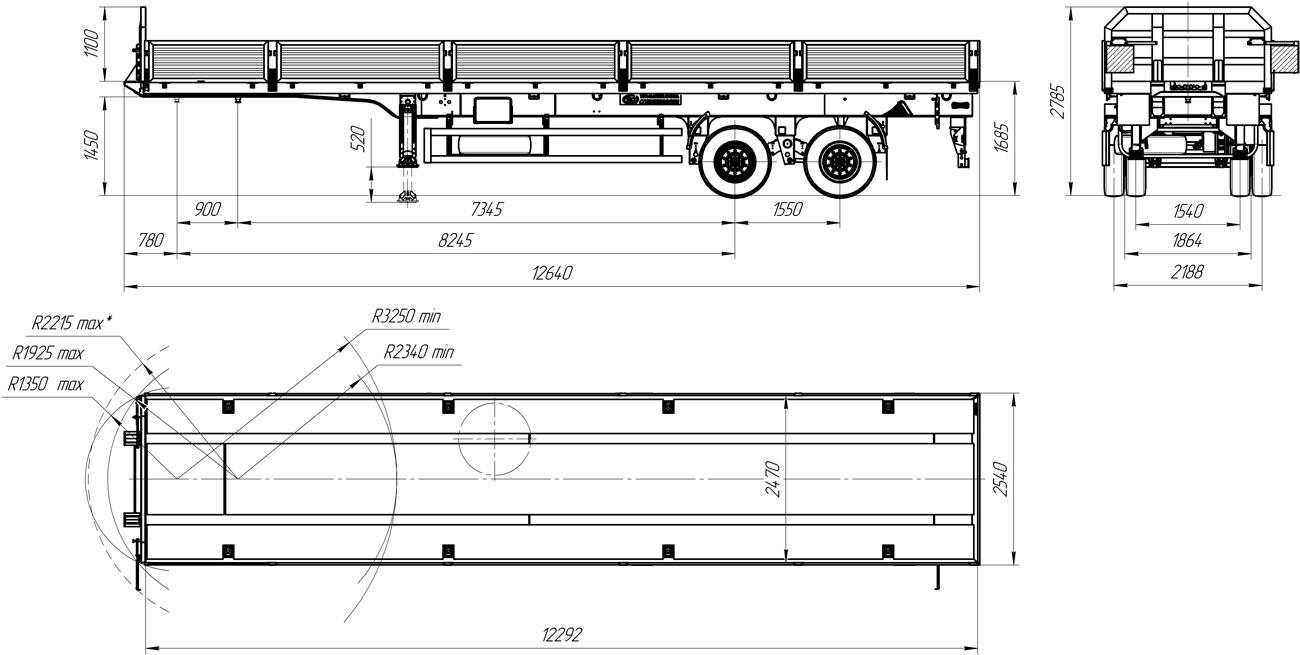 Габаритный чертеж бортового полуприцепа марки УЗСТ 9175-002Б2 (20 т.)