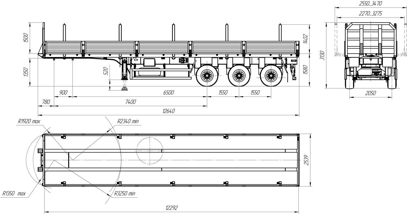 Габаритный чертеж бортового полуприцепа УЗСТ 9174-002Б3
