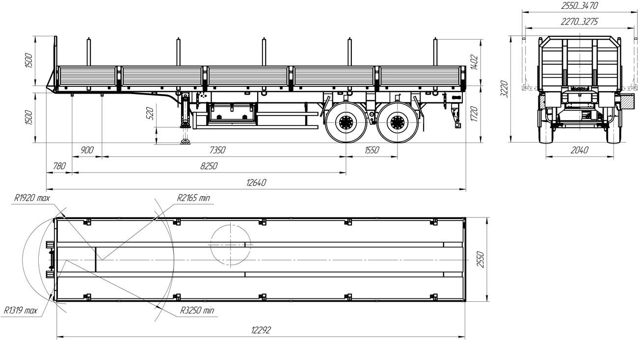 Габаритный чертеж бортового полуприцепа УЗСТ 9175-003Б2