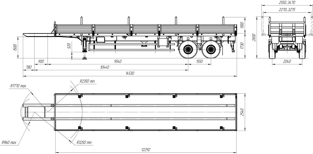 Габаритный чертеж бортового полуприцепа марки УЗСТ 9180-004Б2 (17,5 т.)