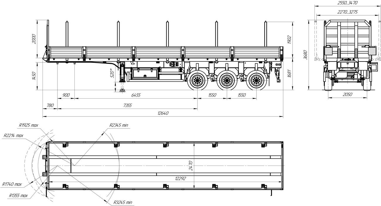 Габаритный чертеж бортового полуприцепа марки УЗСТ 9174-004Б3 (37 т.)