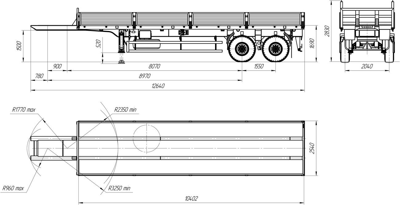 Габаритный чертеж бортового полуприцепа марки УЗСТ 9175-005Б2 (17,6 т.)