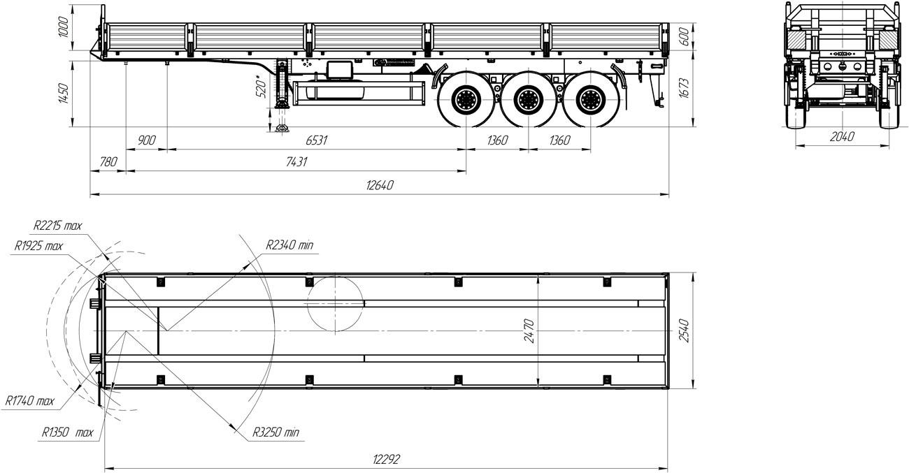 Габаритный чертеж бортовой полуприцеп УЗСТ 9174-005Б3-БК (35,5 т.)