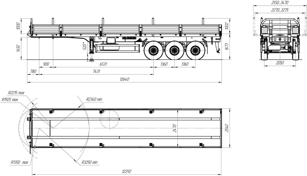 Габаритный чертеж бортового полуприцепа УЗСТ 9174-005Б3