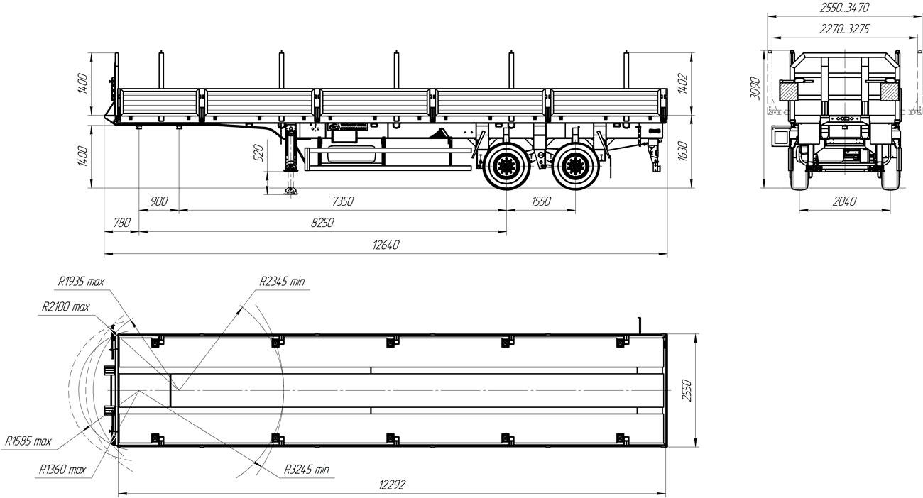 Габаритный чертеж бортового полуприцепа марки УЗСТ 9175-006Б2 (22,2 т.)