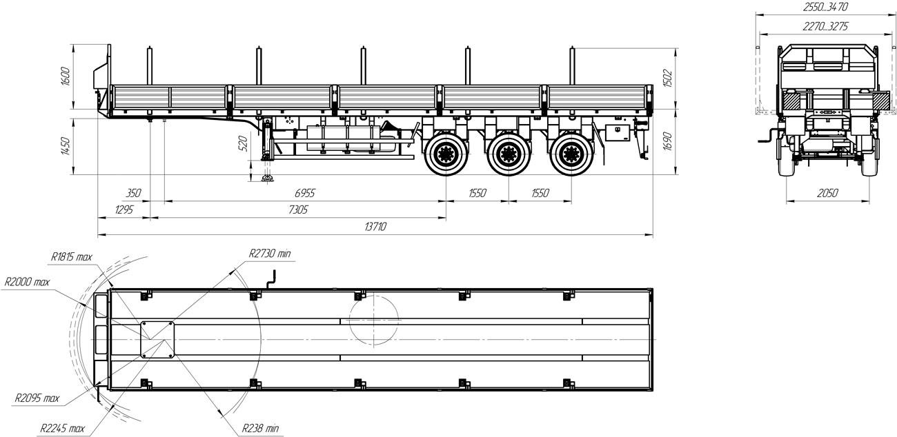 Габаритный чертеж бортового полуприцепа УЗСТ 9174-006Б3