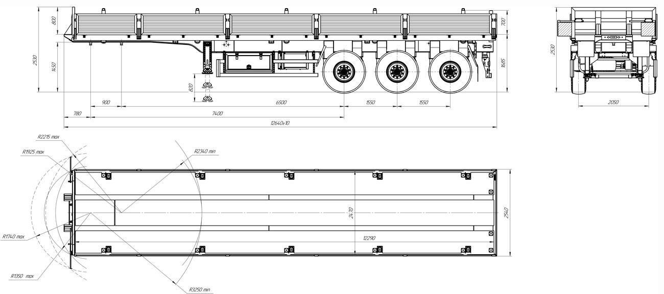 Габаритный чертеж бортового полуприцепа марки УЗСТ 9174-007Б3 (33,3 т.)