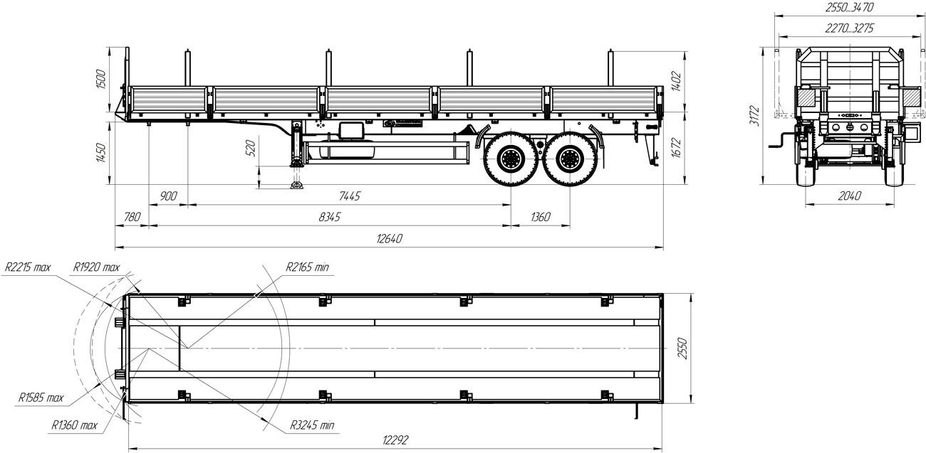 Габаритный чертеж бортового полуприцепа марки УЗСТ 9175-008Б2 (22 т.)