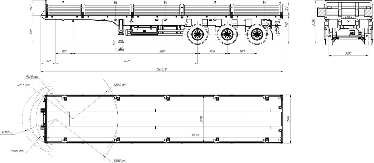Габаритный чертеж бортового полуприцепа марки УЗСТ 9174-008Б3 (33,3 т.)