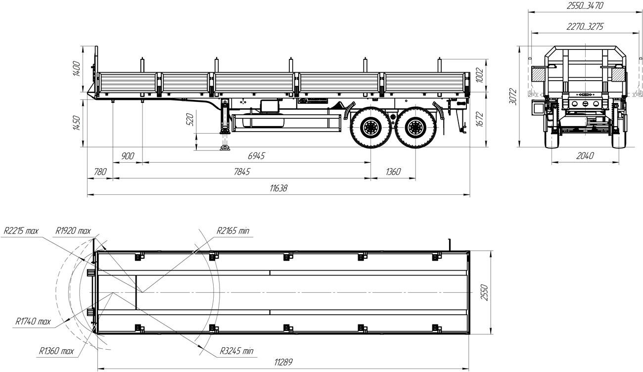 Габаритный чертеж бортового полуприцепа марки УЗСТ 9175-009Б2 (20,4 т.)