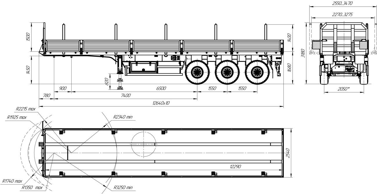Габаритный чертеж бортового полуприцепа марки УЗСТ 9174-009Б3