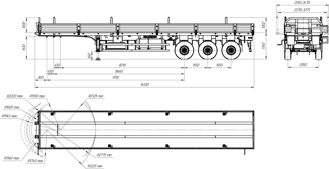 Габаритный чертеж бортового полуприцепа УЗСТ 9174-010Б3