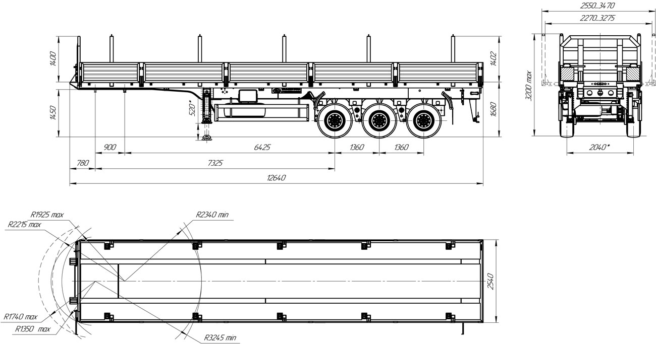 Габаритный чертеж бортового полуприцепа УЗСТ 9174-011Б3 (34,4 т.)