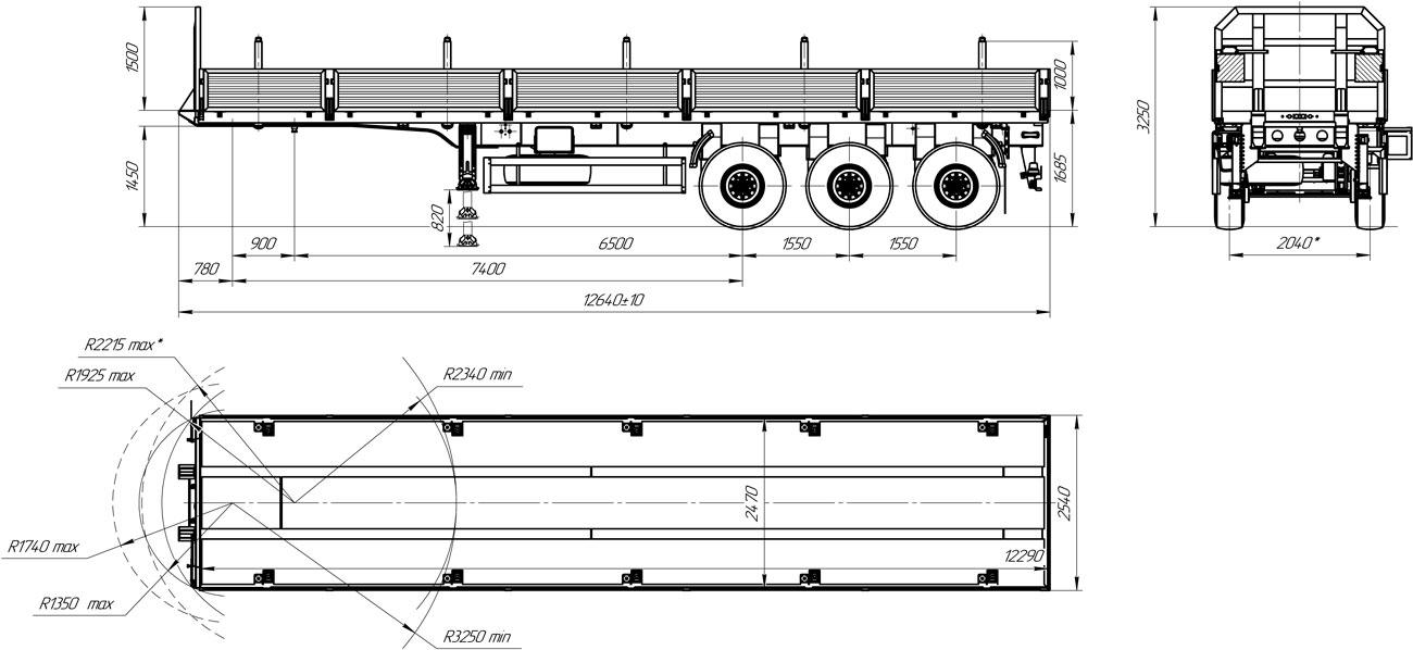 Габаритный чертеж бортового полуприцепа марки УЗСТ 9174-012Б3 (30,5 т.)