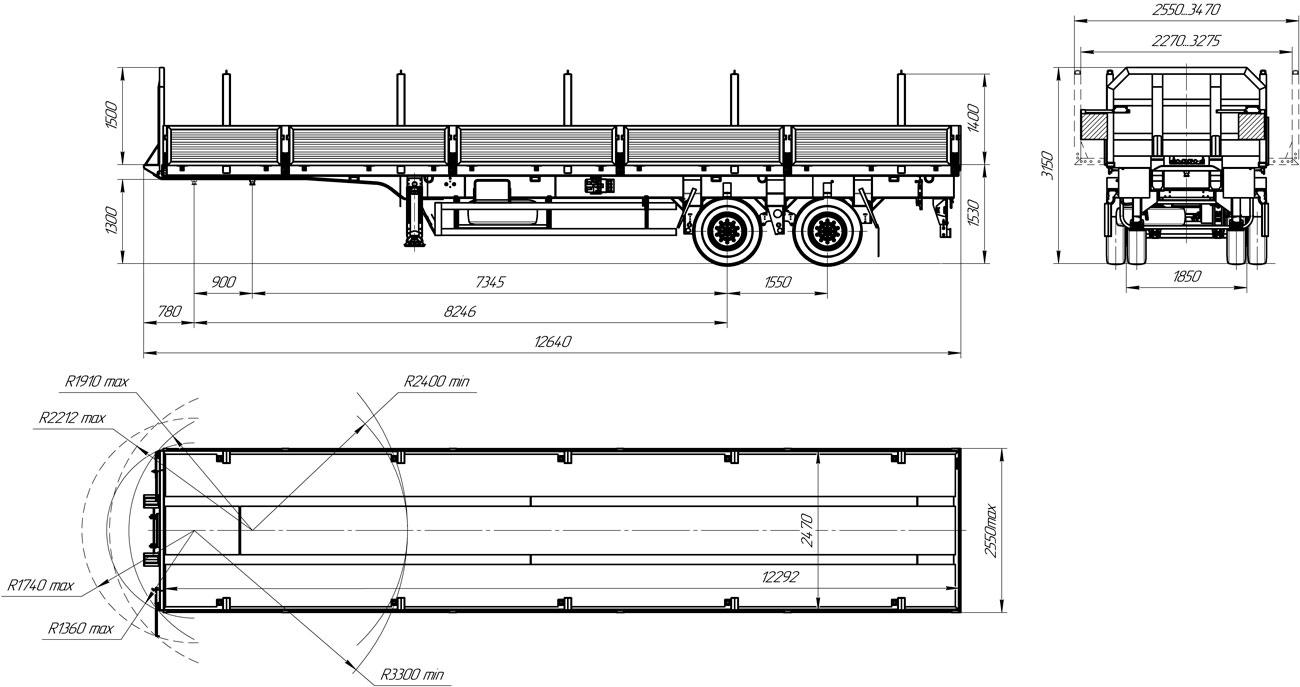 Габаритный чертеж бортового полуприцепа марки УЗСТ 9175-013Б2 (22 т.)