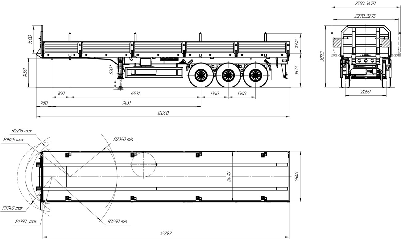 Габаритный чертеж бортового полуприцепа УЗСТ 9174-013Б3 (35,5 т.)