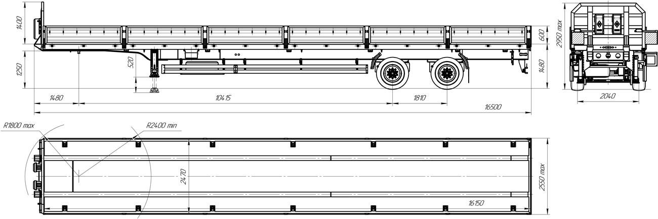Габаритный чертеж бортового полуприцепа марки УЗСТ 9175-014Б2
