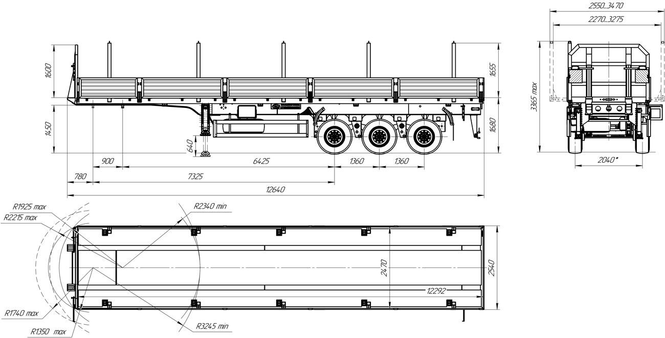 Габаритный чертеж бортового полуприцепа марки УЗСТ 9174-015Б3 (34,4 т.)