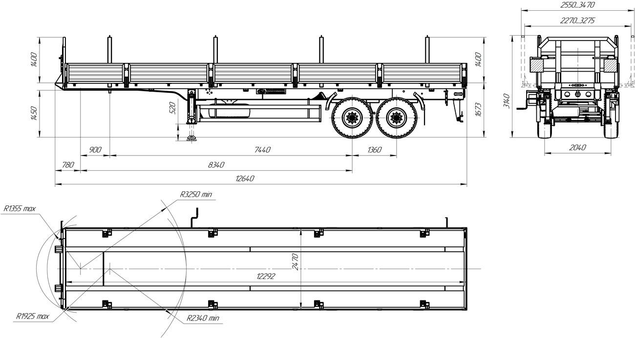 Габаритный чертеж 2-осного бортового полуприцепа марки УЗСТ 9175-018Б2-20