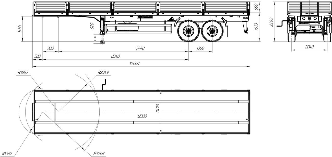 Габаритный чертеж 2-осного бортового полуприцепа марки УЗСТ 9175-019Б2
