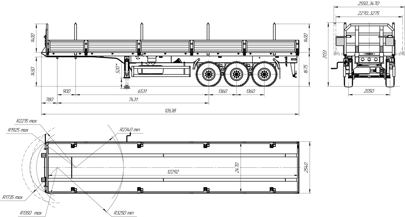 Габаритный чертеж бортового полуприцепа марки УЗСТ 9174-019Б3