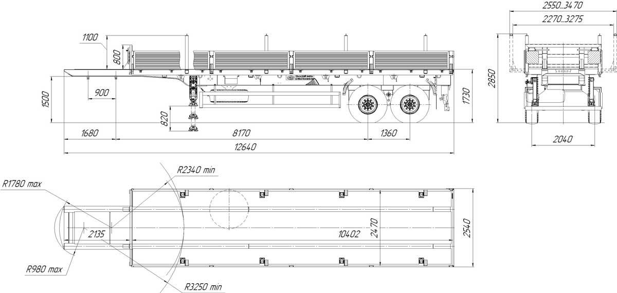 Габаритный чертеж полуприцепа бортового УЗСТ 9175-020Б2