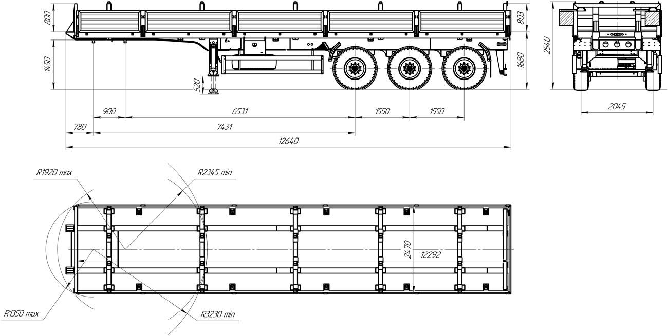 Габаритный чертеж полуприцепа-штанговоза марки УЗСТ 9174-021Б3