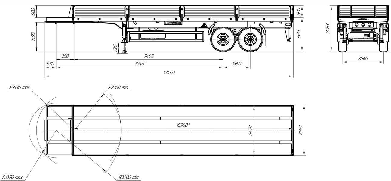 Габаритный чертеж бортового полуприцепа марки УЗСТ 9174-024-10Б2