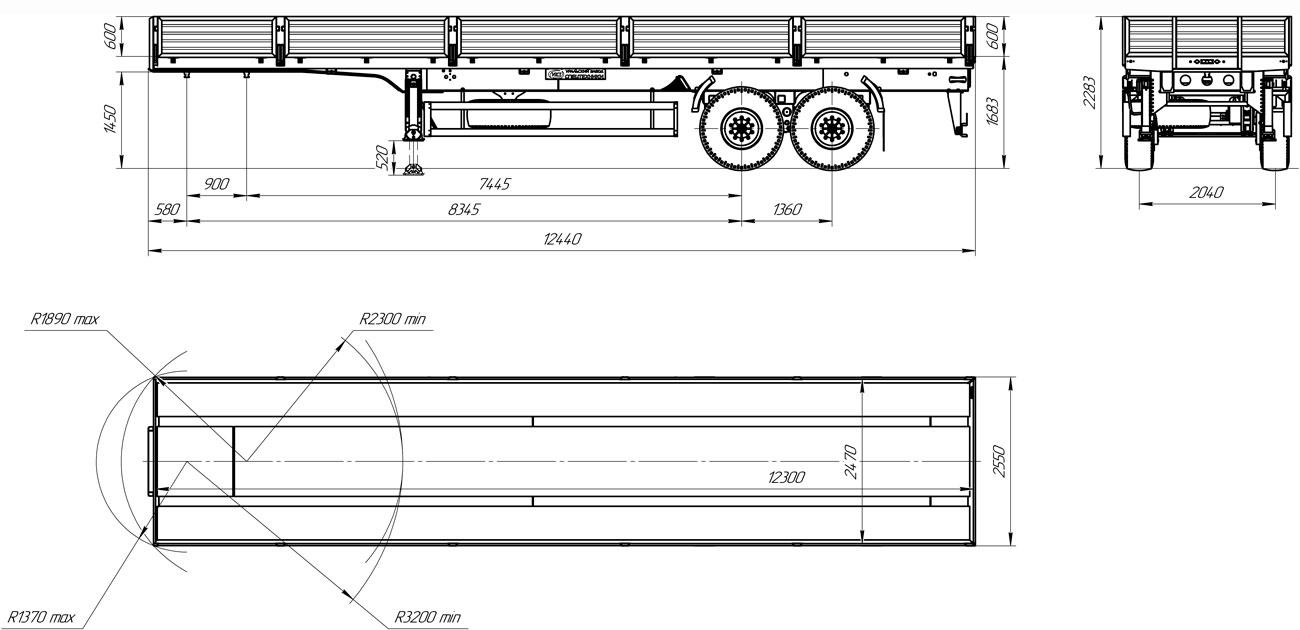 Габаритный чертеж бортового полуприцепа марки УЗСТ 9174-024Б2