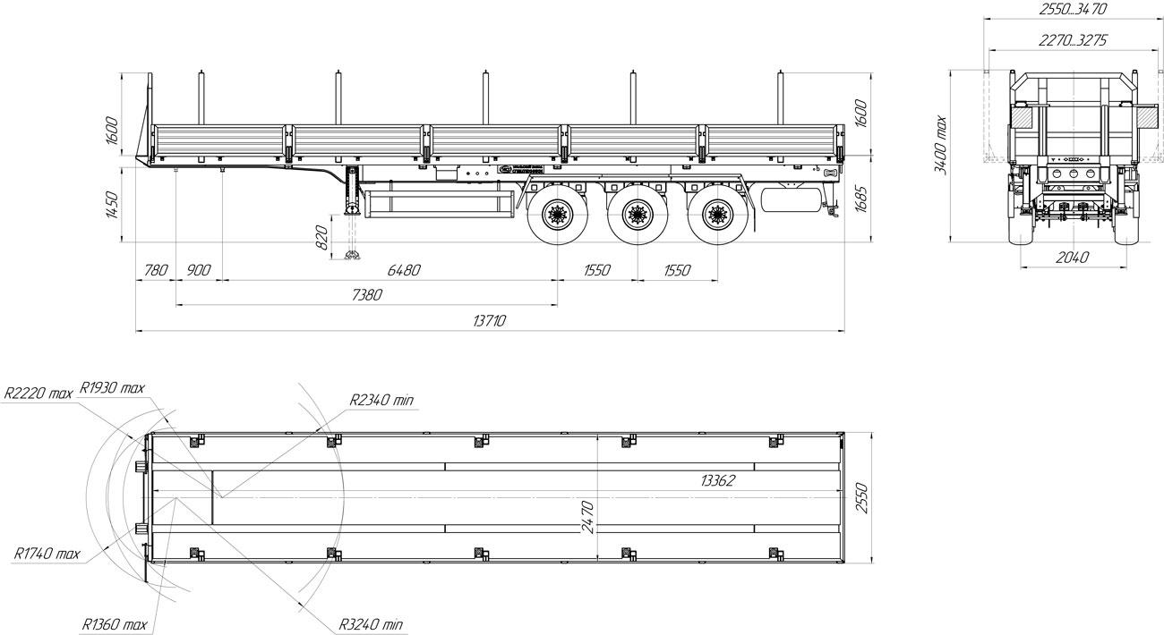 Габаритный чертеж бортового полуприцепа марки УЗСТ 9174-024Б3 (40 т.)