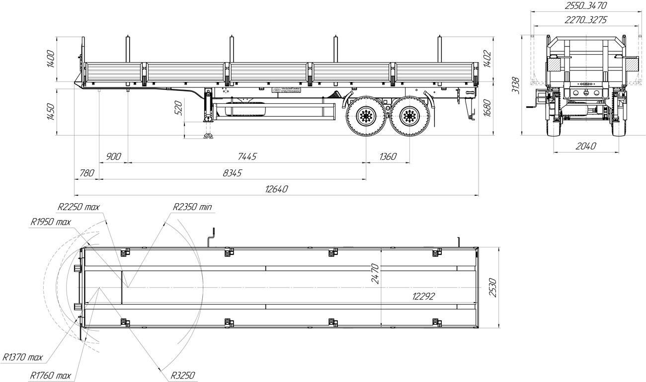 Габаритный чертеж бортового полуприцепа марки УЗСТ 9175-025Б2