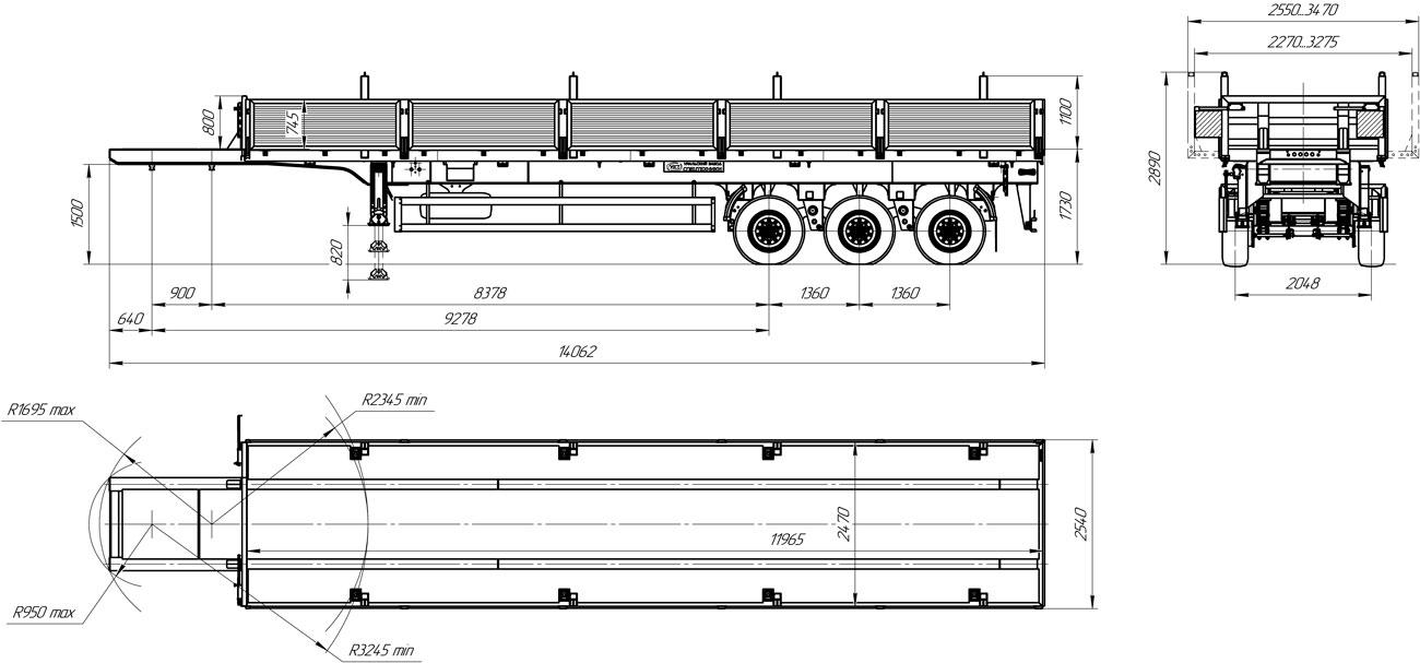 Габаритный чертеж бортового полуприцепа марки УЗСТ 9174-025Б3