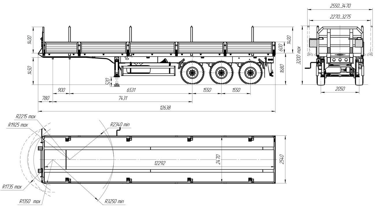 Габаритный чертеж бортового полуприцепа марки УЗСТ 9174-027Б3