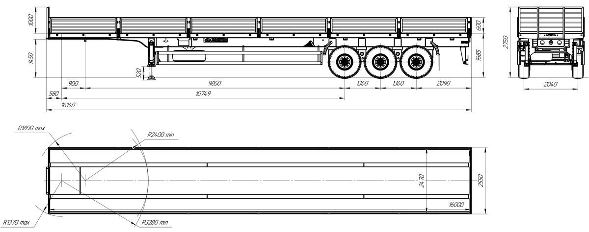 Габаритный чертеж бортового полуприцепа марки УЗСТ 9174-028Б3