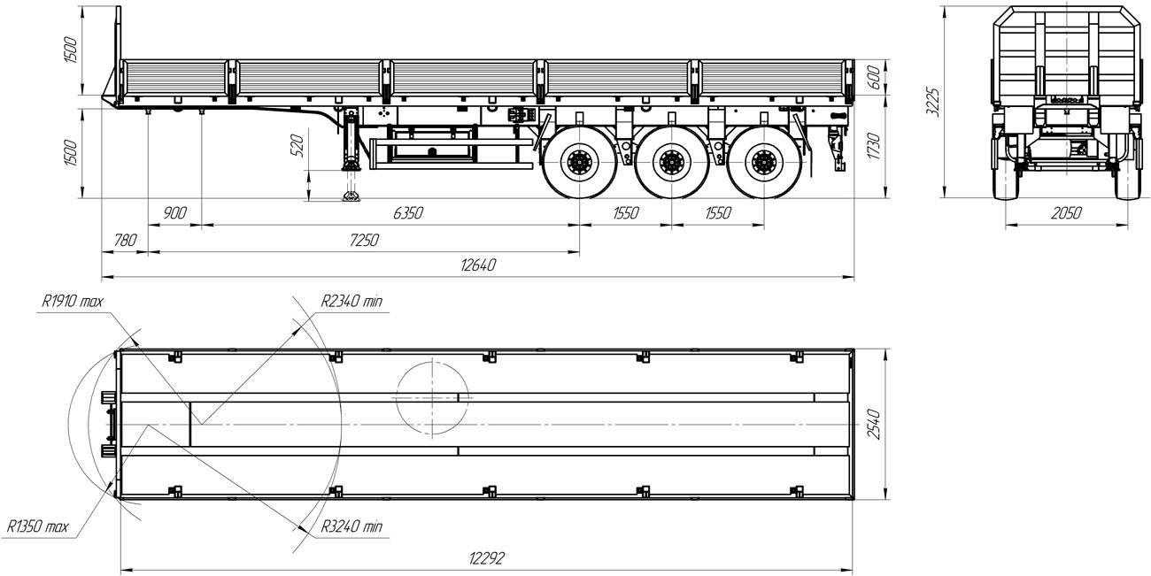 Габаритный чертеж бортового полуприцепа УЗСТ 9174-04Б3-БК