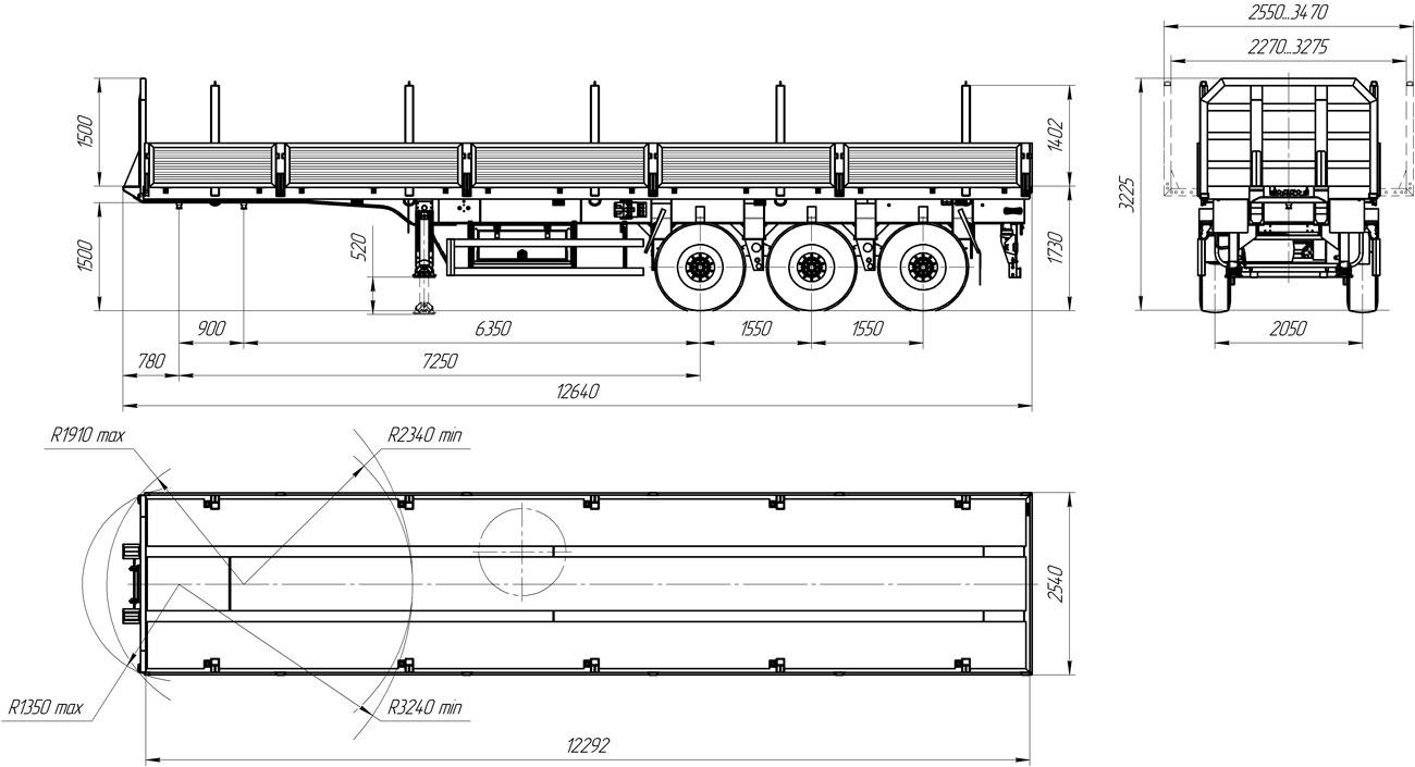 Габаритный чертеж бортового полуприцепа УЗСТ 9174-04Б3