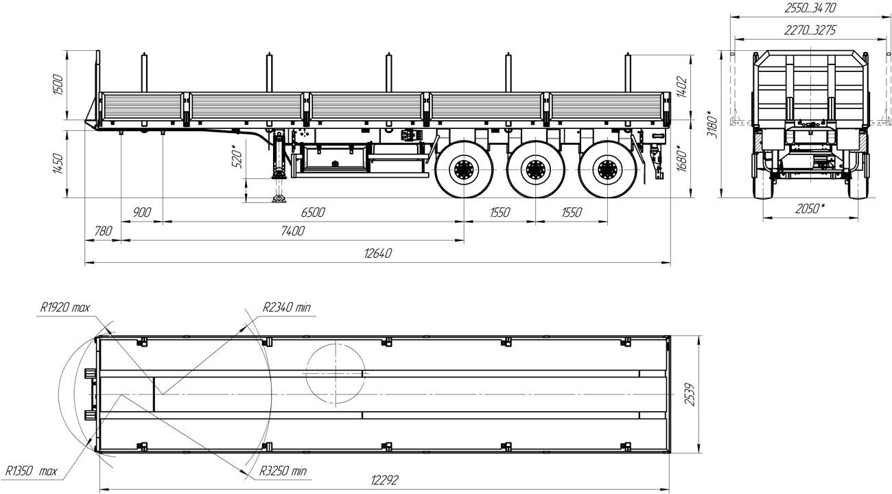 Габаритный чертеж бортового полуприцепа УЗСТ 9174-05Б3