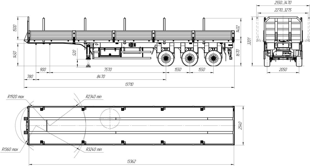 Габаритный чертеж бортового полуприцепа УЗСТ 9174-06Б3