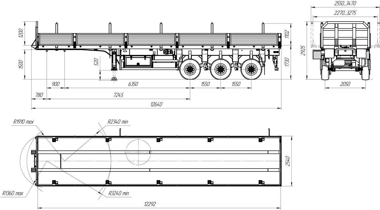 Габаритный чертеж бортового полуприцепа УЗСТ 9174-07Б3