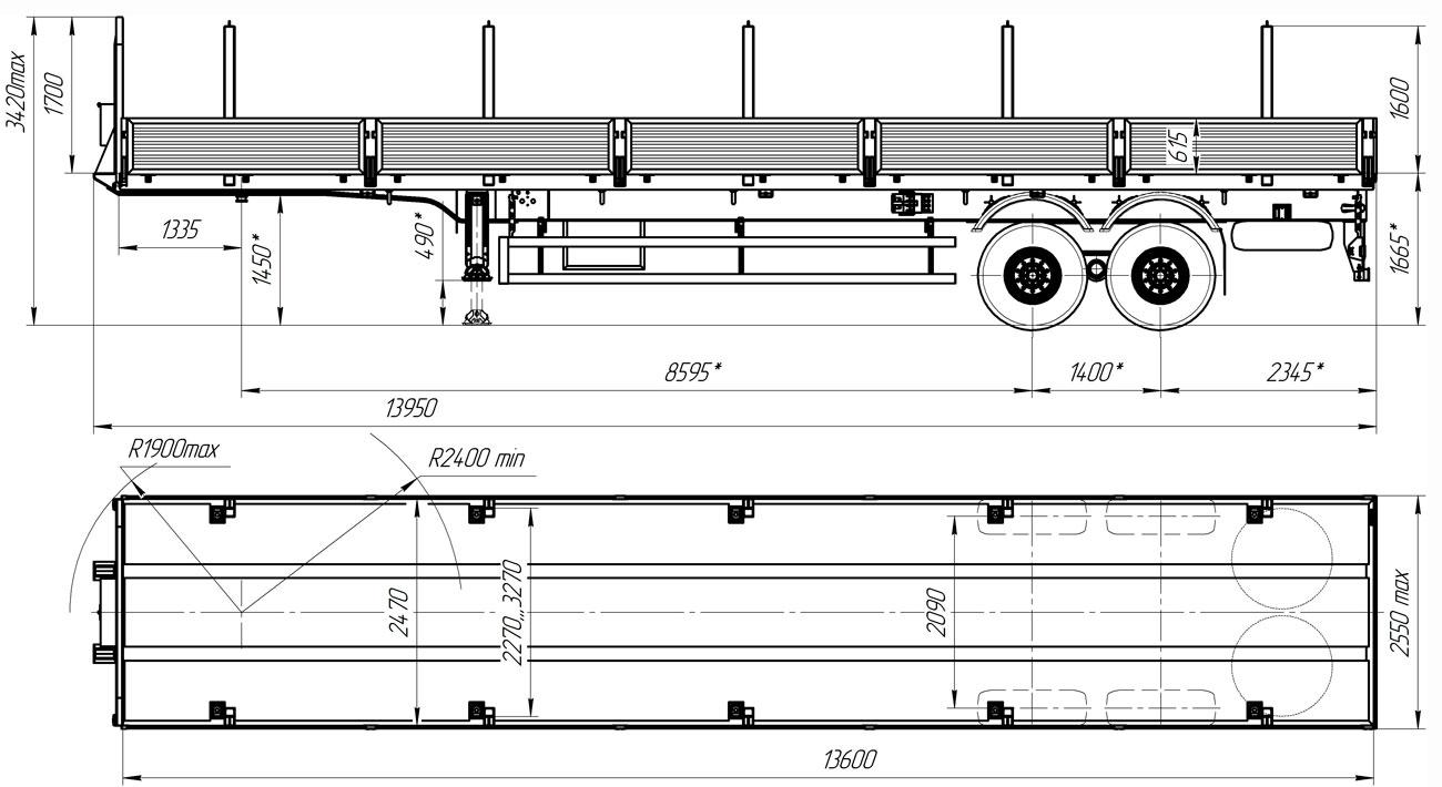 Габаритный чертеж бортового полуприцепа УЗСТ 9175-101Б2