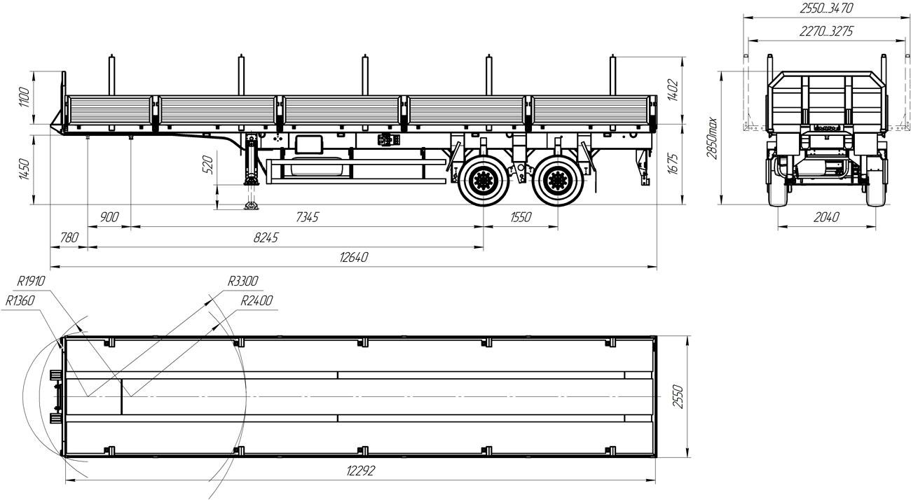 Габаритный чертеж полуприцепа бортового УЗСТ 9175-13-10Б2