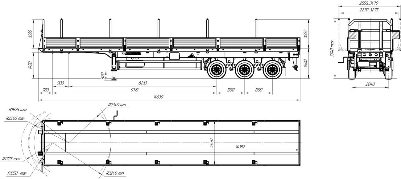 Габаритный чертеж бортового полуприцепа марки УЗСТ 9174-14Б3 (г/п 32 т.)