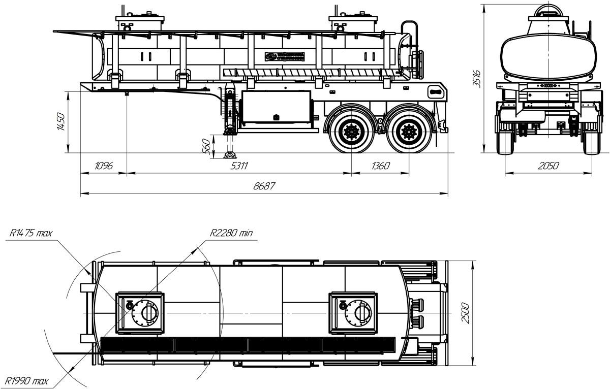 Габаритный чертеж полуприцепа-цистерны УЗСТ ППЦ-16-001 для ГСМ