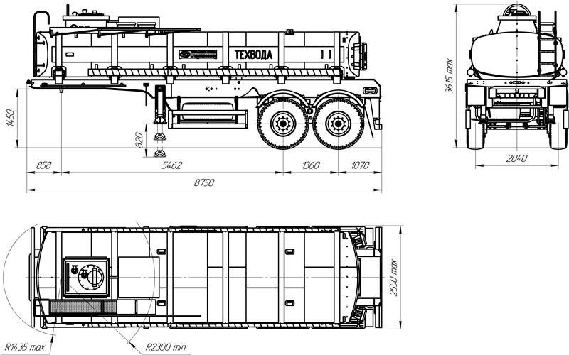 Габаритный чертеж полуприцепа-цистерны марки УЗСТ ППЦ-17-001 для техводы