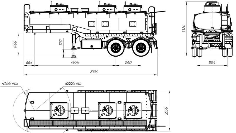 Габаритный чертеж полуприцепа-цистерны марки УЗСТ ППЦ-20-005 для ГСМ
